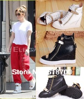 Free shipping delievry 2014 newest Crocodile pattern sneakers for women 100% genuine leather high top shoes casual boots