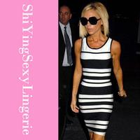 Fashionable Black White Striped Tank Bandage Dress LC28064 women sexy dress new fashion dresses