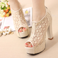 2014 thick heel open toe sandals ultra high heels sexy cutout lace fashion platform sandals,free shipping
