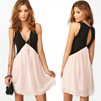 Free Shipping 2014 Fashion colorant back cutout V-neck sleeveless sexy patchwork chiffon dress
