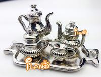 Wholesale iland coffee set 5pcs Dollhouse miniature Tableware tea set Metal  Silver color 20 PCS DM002