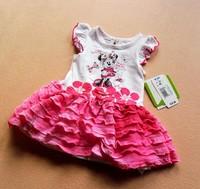 2014 Newest Baby-girls cartoon  mouse flowers ruffle frill summer dress