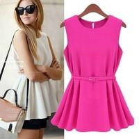 fashion o-neck 2014 new spring summer ladies chiffon cotton candy color belt slim sleeveless tank dress PH0900