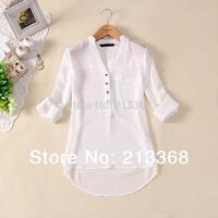 new 2013 women spring summer V-neck chiffon elegant all-match solid botton casual spirals shirt blouse free shipping #5481
