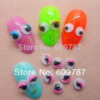 Free Shipping 200pcs/bag Cute 6mm Pink Eye Eyeball Nail Art Decoration