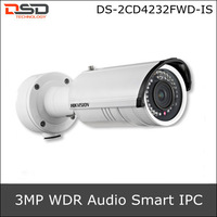 2014 Hikvision Smart Code 3MP Full HD WDR IR-Bullet Smart IPC DS-2CD4232FWD-IS,Support Face detection &Audio detection