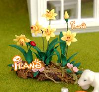 Wholesale iland  1:12 Dollhouse Miniature Decorative Plant Yellow Narcissus Flower  For Garden 20 PCS OP010C