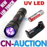 FREE SHIPPING! UltraFire WF-502B CREE UV LED Flashlight Purple Light Ultraviolet Lamp + 18650 Battery + Charger [CN-Auction]