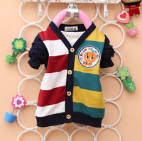 2014 new spring v neck long sleeve stripe england style boy child shirt 2-4 kids cardigan clothing