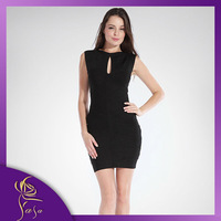 Women Sexy Scoop Halter HL Celebrity Bandage Dresses 2014, Lady Evening Gowns Party Prom Black Club Wear 2014 New Fashion