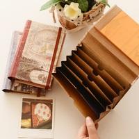 Korea stationery paper vintage cowhide accordion pocket bill bag file bag