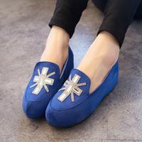 2014 spring fashion new arrival velvet women's platform wedges casual shoes round toe shallow mouth rhinestone platform single