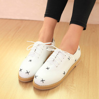 2013 spring british style preppy style low-top casual women's shoes low-heeled shoes lacing round toe single shoes free shipping