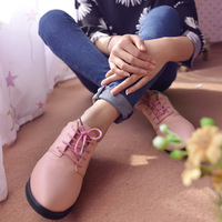 Spring  vintage solid color lacing pointed toe thick heel work shoes all-match fashion single shoes female shoes free shipping