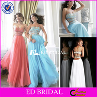 rs091 Strapless Sleeveless Arabic Crystal Beading Cutout Backless Sexy Chiffon Pictures Formal Dresses Women