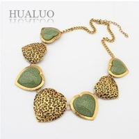 2014 New  Fashion Gold Plated Chains Hollow Out Design Heart Stone Charm Bib Short Necklaces For Women N1613
