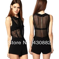 Women's Straight Natural Waist Point Collar Sleeveless Shorts Mesh Romper Playsuit Jumpsuit Concealed Tie Knot Back Style