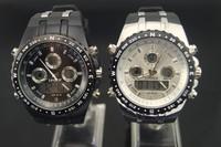 freeshipping 30pcs/lot 30M deep waterproof fashion quartz watch,with digital/quartz dual movement from Japan,PU plastic band