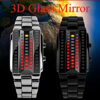 NEW Design SKMEI Creative 3D Glass Mirror Binary Led Watch Men Women Fashion Sports Waterpr oof Electronic Watches Free Shipping
