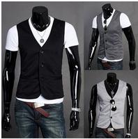 2014 hot ! Free Shipping Fashion Men's Suit Vest Top Slim & Fit Luxury business Dress Vest 3 buttons