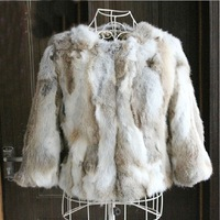 New 2014 Genuine Real  Rabbit Fur Women Coat Natural Rabbit Fur Female Jacket  Short Fashion Design Womens Fur Jacket Coats
