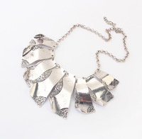 2014 New Fashion Exaggerated Antique Silver Metal Geometric Pendant Choker Statement Necklace For Wedding N1616