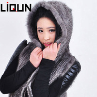 LIQUN NEW fashion Top quality LQ008002 knitted mink fur vest  for women