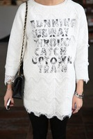 Best seller 2014 spring women lace one-piece dress letter cotton layer 2 in one best dress white long-sleeve hot style