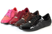 Free shipping 2014 Brand Design Lace Up Women Flats,Quilted Genuine Leather Casual Shoes ,Sneakers For Women 5 Color 35-42