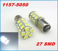 2PCS BAY15D 1157 27 SMD 5050 LED Car Tail Stop Brake Turn Signal Light White 12V