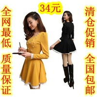 free shipping Basic skirt autumn and winter 2014 spring one-piece dress long sleeve length slim lace one-piece dress