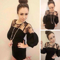 free shipping Princess spring all-match small ! three quarter sleeve lace patchwork chiffon one-piece dress d32