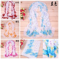 New 2014 Fashion Style Multi Color Small Rose Printed Silk Scarf Women Chiffon Georgette Mulberry Scarves/ Shawl Drop Shipping