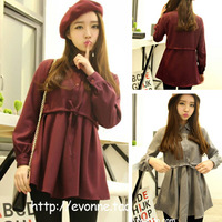 free shipping 2014 spring fresh drawstring round the waist slim waist long design woolen shirt basic 121 one-piece dress