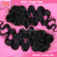 "Beauty queen virgin peruvian loose wave closure with bleached unprocessed cheap top closure free part and free shipping 4""X4"""