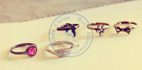 rings finger Fashion popular Jewelry for women Girl's 5pcs/set wing faux  bird adjustable CN post