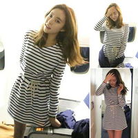 free shipping 2014 spring fashion small fresh o-neck black and white stripe one-piece dress p31