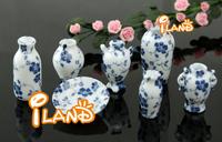 Wholesale iland 1/12 Dollhouse Miniature Kitchen Dining ware Ceromic Miniatures China Porcelain Vase Blue Vine 7PCS*40PCS