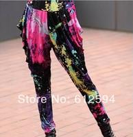 New women/lady raffiti tie-dyed harem pants female colorful floral hip hop drop crotch dance sweatpants clubwear sexy free ship