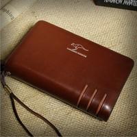 2014 Hot sale Brand Men's Genuine Leather Day clutches Casual Big Wallet Boy's Leisure Big Purse Birthday Gift BG008