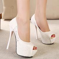 Spring 2014 Sweet Ivory Lace Bridal Wedding Shoes Fashion Platforms Peep Toes Women Pumps High Heels Stilettos Female Black