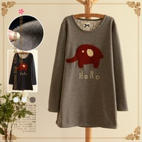 Lovable Secret - Cartoon o-neck pullover medium-long plus velvet thickening sweatshirt outerwear autumn and winter women 11790
