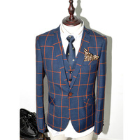 Fashion elegant plaid suit small jacket male slim plaid suit set
