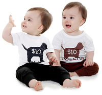Retail Fashion 2014 New Cartoon Baby Boys Summer Clothes Baby Suits Kids Short-sleeve T-shirt + Overalls Children Clothing Set