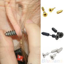 A pair Fashion Unisex Fine Stainless Steel Whole Screw Stud Earrings for Men Women Silver Black Gold