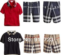2014 hot sale newest fashion spring summer children clothing boys POLO plaid suit set 2pcs/set short sleeve t-shirt+pant classic