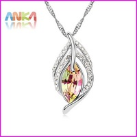necklace free shipping Made With Swarovski Elements Crystals jewelry wedding Maple Leaf Pendant#96722