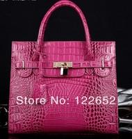 2014 new arrival genuine leather handbag crocodile texture brand bag free shipping B-51