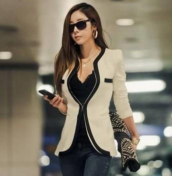 2014 Новая мода зима Женщины Тонкий Блейзер Пальто Повседневная куртки с длинным ...
