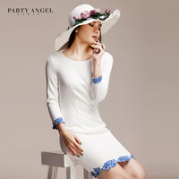 2013 women's white blue and white porcelain long-sleeve slim casual one-piece dress